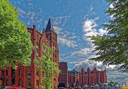 Hamburg, Speicherstadt, Brick, Architecture, Building
