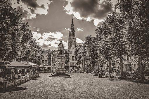 Brugge, Square, Trees, Architecture, Tourism, City
