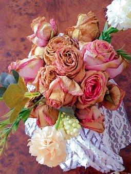 Bouquet, Flowers, Roses, Pink, Wedding, Orange