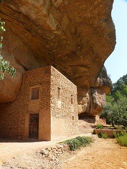 Cabin, Rural, Construction, Landscape, Cave, Rock, Peña