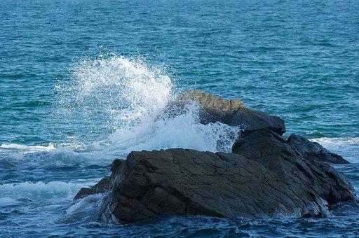 Rock Island, Waves, Sea, Nature, Landscape, Summer