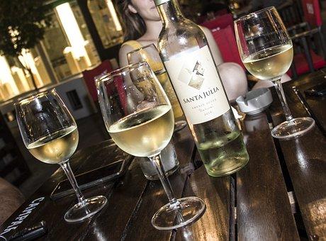 White Wine, Cups, Celebration, Wine, Two, Romance