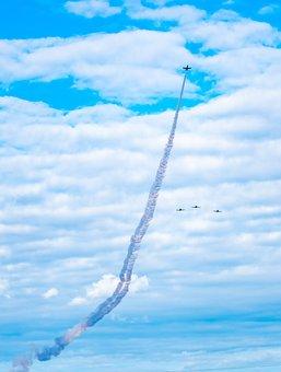 Jet, Missing Man, Aircraft, Formation, Aviation, Smoke