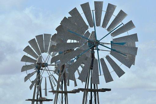 Windmills, Karoo, South Africa, Farm, Sky