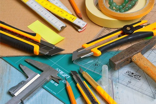 Blades Are Engaged, Hammer, Subler, Adhesive Tape