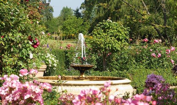 Fountain, Garden, Flowers, Summer, Water Feature