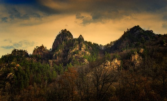 The Caucasus, Adygea, Mountains, Forest, Evening