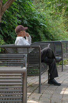 Man Sitting On Bench, Thinking, Man, Alone, Person