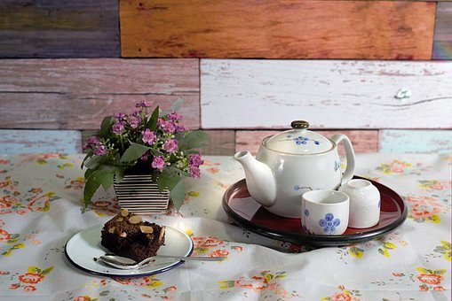 Tea Pot, Flowers, Vase, Cups, Table, Wood, Teatime, Tea