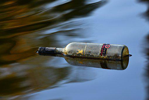 Bottle, Water, Floating, Glass, Label, Waste, Drink