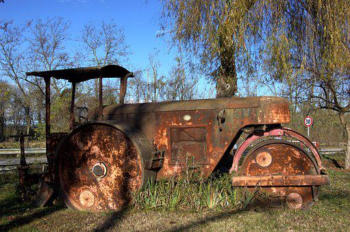 Steamroller, Asphalt, Rusty, Old, Rust