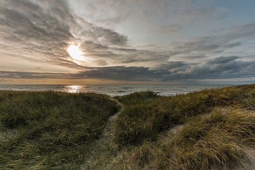 Dunes, Denmark, Nature, North Sea, Clouds, Sea