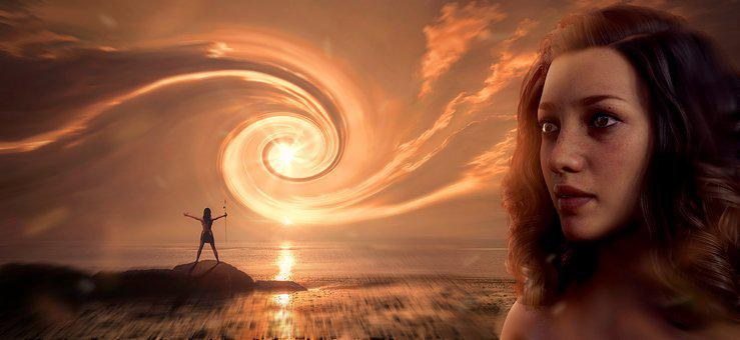 Fantasy, Woman, Eddy, Sky, Light, Spiral, Man, Sea