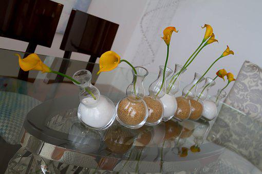 Flowers, Table, Center, Trim, Yellow, Decoration