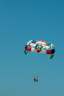 Parasailing, Parachute, Sky, Blue, Fly In The Air