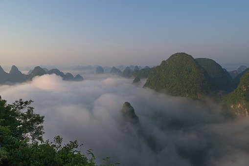 Sunrise, Yangshuo, China, Fog, Mountains, Hill