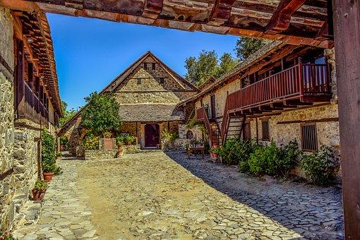 Cyprus, Kalopanayiotis, Monastery, Church, Patio