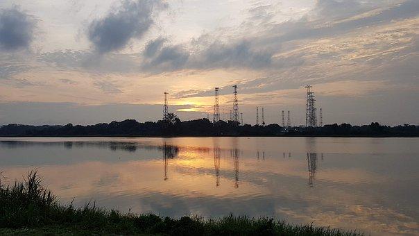 Sunset, Singapore, Kranji, River, Pylon