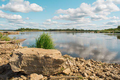Summer, Landscape, River, Sky, Clouds, Nature, Water