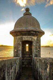 Puerto Rico, Castle, Lookout, Watch, Ocean, Sunset