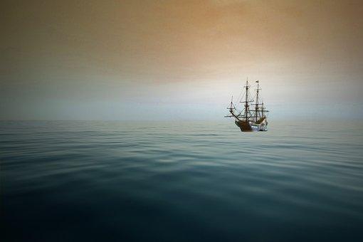 Sea, Mar, Ocean, Water, Nature, Ship, Blue, Sky, Candle
