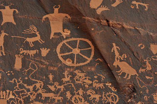 Indians, Utah, Navajo, Antiquity, Newspaper Rock, Mural