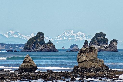 New Zealand, Paparoa National Park, Rock, Ocean