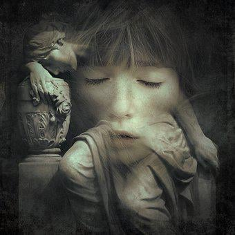 Cd Cover, Portrait, Statue, Mourning, Face, Girl