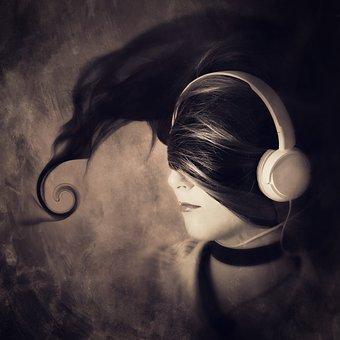 Cd Cover, Portrait, Headphones, Hair, Woman, Female