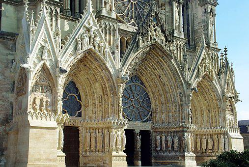 Reims, Cathedral, Gothic, Portals, Entry, Sculptures