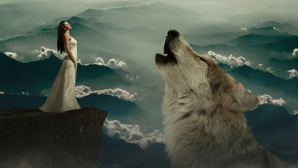 Wolf, Woman, Fantasy, Rock, Fairy Tales, Dream World