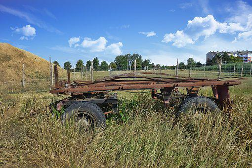 Trailers, Old, Rusted, Scrap, Meadow, Landscape