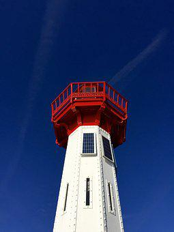 Lighthouse, Red, White, Blue, Sky