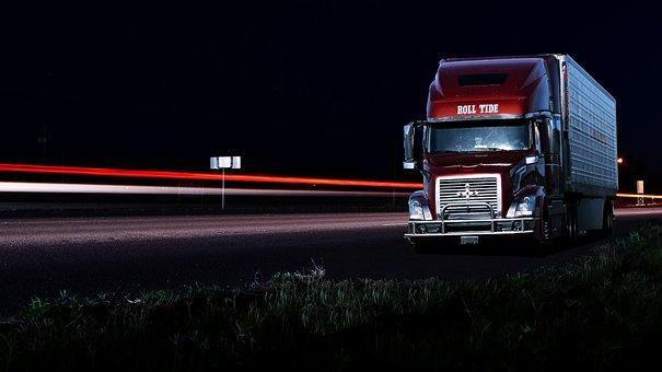 Truck, American, Night, Light, Car, Lights, Speed