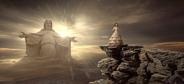 Fantasy, Spiritual, Jesus, Statue, Woman, Rock, Sky
