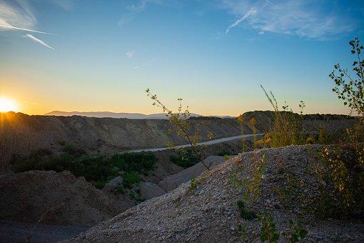 Gravel, Gravel Pit, Fallow, Sunset, Landscape, Rural