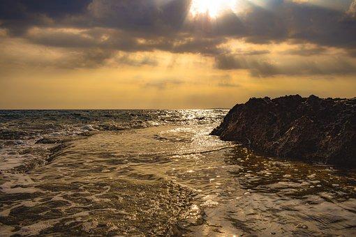 Sunset, Rock, Sea, Water, Horizon, Coast, Landscape