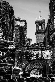 Tecalli, Puebla, Estate, Tower, Black And White