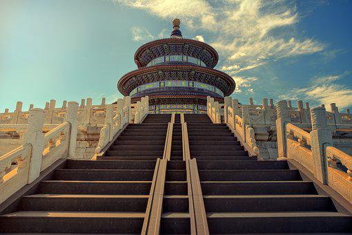 Beijing, Temple Of Heaven, Stairs, Temple, Historically