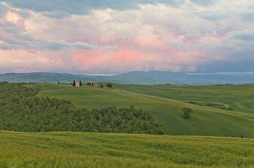 Italy, Tuscany, Fields, Sky, Dawn, Landscape, Tourism