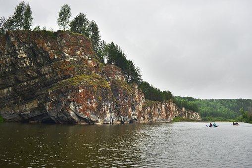 River, Ural, Catamarans, Summer, Russia, Vacation