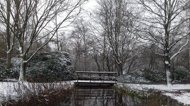 Winter, Landscape, Snow, Bridge, Walk In The Park