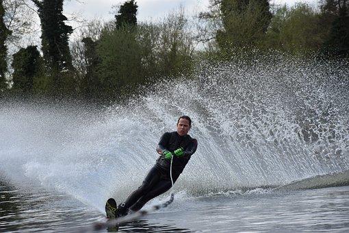 Waterski, Waterskiing, Fun, Splashing, Water, Speed
