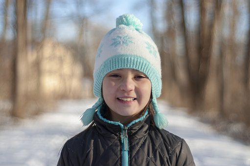 Girl, Smiling, Winter, Hat, Young, Portrait, Female