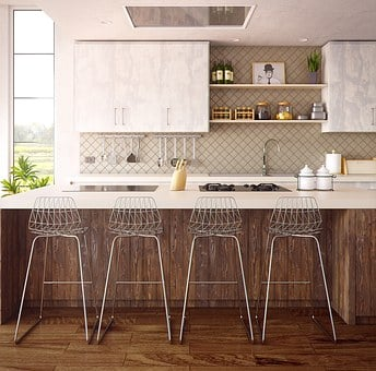 Architecture, Interior, Furniture, Kitchen, Render, 3d