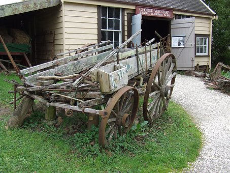 Cart, Wagon, Wheel, Wooden, Antique, Vintage, Transport