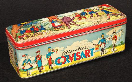 Biscottes Corvisart, Box, Tin, Package, Old, Retro