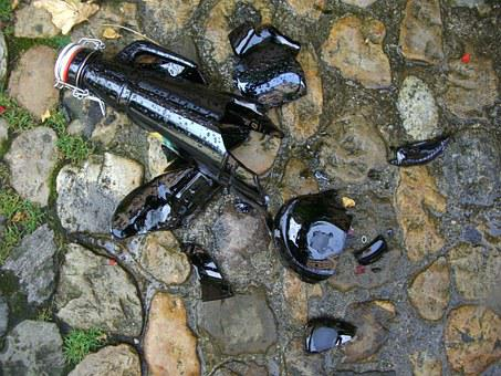 Broken Glass, Stone Paving, Shard, Bottle, Iron Lock