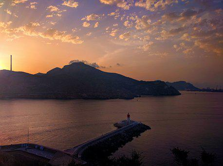 Cartagena, Sunrise, Clouds, Lighthouse, Harbour, Sunset