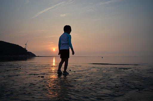 Glow, Sunset, Children, Beach, Tidal